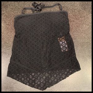 Kona Sol Strapless black lace open back top